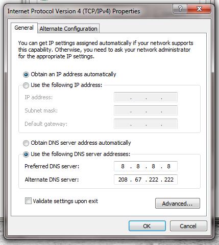 Atur susunan DNS server addresses – sisanya klik ok semua